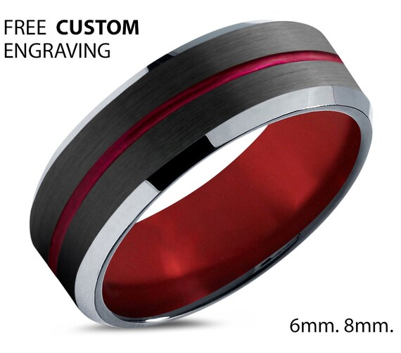 Black and Red Polished Tungsten Wedding Band - Unisex Wedding Band for Men & Women - Free Custom Personalized Engraving - 6mm, 8mm
