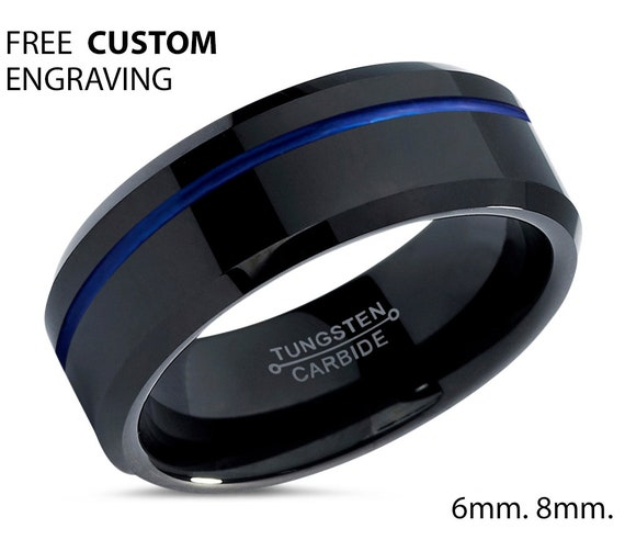 Blue and Black Tungsten Carbide Wedding Band for Men & Women Engagement Promise Love Ring Hypoallergenic Free Personalized Engraving