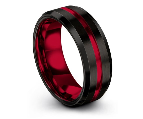 Personalized Black Tungsten Ring,His and Hers Wedding Bands,Center Engraving Red,Couple Matching Ring,Mothers Gift For Her,Promise Ring
