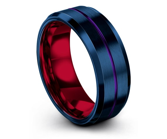 Wedding Band Set Red, 8mm, Brushed Blue Wedding Band, Beveled Tungsten Carbide Ring, His and Hers Rings, Center Engraved Ring Purple, Custom