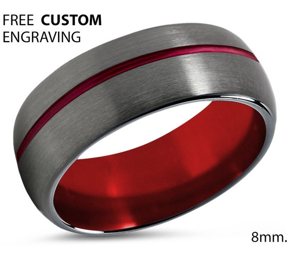 Mens Wedding Band Red, Tungsten Ring 8mm Gunmetal, Wedding Ring, Engagement Ring, Promise Ring, Rings for Men, Personalized, Black Ring