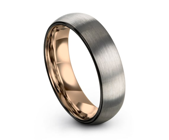 Mens Wedding Band, Rose Gold Wedding Ring, Brushed Silver Tungsten Ring 6mm 18K, Engagement Ring, Promise Ring, Gifts for Her, Gifts for Him