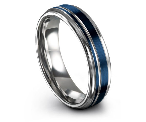 Silver His and Hers Wedding Bands,Mens Wedding Band,Blue Tungsten Ring 8mm,Thin Silver Offset Line,Personalized,Promise Ring,Free Engraving