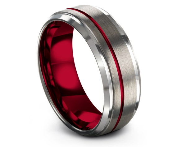Mens Wedding Band 8mm, Silver Rings For Women, Red Tungsten Carbide Rings, Personalized Ring, Offset Line Engraving, Cost Free Shipping