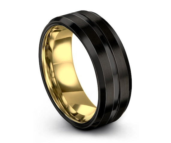 Mens Ring Black, Wedding Ring Yellow Gold 18K 8mm, Tungsten Ring, Engagement Ring, Rings for Women, Rings for Men, Promise Ring, Black Ring
