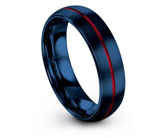 Best Friend Gifts | Brushed Blue Ring | Domed Engagement Band | Center Engraving Red | Red Ring Set | Anniversary Matching Ring | Gifts