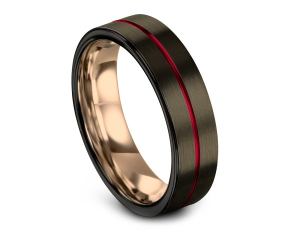 Tungsten Carbide Ring Men Black | Tungsten Wedding Band | Rose Gold Tungsten Ring | Thin Red Line Engraving | Promise Ring | Rings for Women