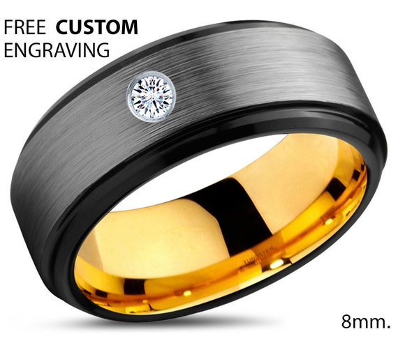 Mens Wedding Band, Mens Ring Yellow Gold 18K 8mm, Tungsten Ring, Diamond Ring, Engagement Ring, Promise Ring, Rings for Men, Rings for Women