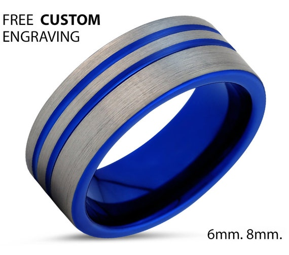 Blue Tungsten Engagement Ring for Men & Women | Wedding Band Promise Ring