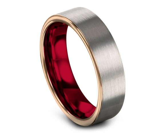 Flat Tungsten Wedding Band Silver | Rose Gold Tungsten Band | Wedding Band Tungsten Women | Red Tungsten Ring | Free Shipping | 6mm.
