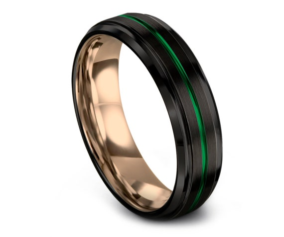 Handmade Comfort Fit Wedding Band Green,Black Tungsten Wedding Band,Engraving Tungsten Ring,18K Rose Gold Band,Gift For Fathers,6MM,8MM