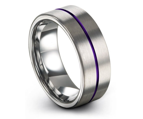 Comfort Mens Wedding Band Silver, Ring Set, Tungsten Wedding Band, Center Engraving Purple Ring, Ring For Woman, Father Day Gift, 6mm 8mm