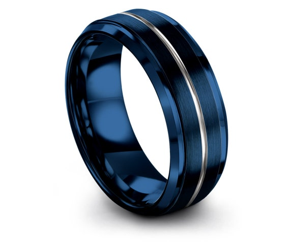Luxury Wedding Band Beveled, Blue Tungsten Ring Women, Promise Ring, Silver Engraved Ring, Gifts For Her, Gift For Boyfriend, Unique Band