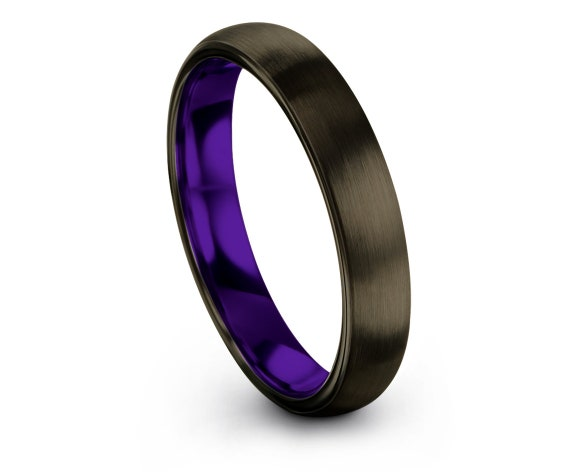 Ring For Women,Domed Tungsten Wedding Band,Gunmetal Tungsten Ring 4mm,Thin Rings,Women Purple Ring,Valentine Gifts,Comfort Band,Couple Rings