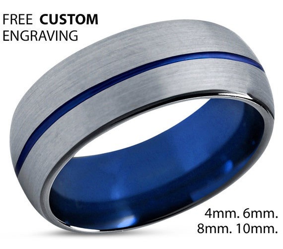 Mens Wedding Band Silver, Tungsten Ring Blue 8mm, Wedding Ring, Rings for Men, Engagement Ring, Promise Ring, Rings for Women, Unique Ring