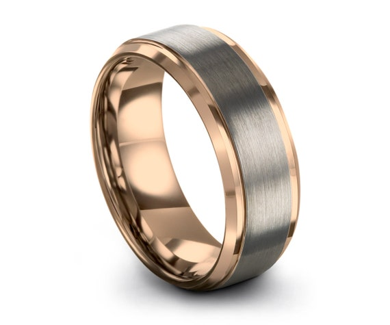 Tungsten wedding band Rose Gold Mens Wedding Band, Brushed Silver Wedding Ring, Promise Ring, Engagement Ring, Gold Ring Gifts Him Gifts Her