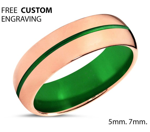 18K Rose Gold Mens Wedding Band With Green Center Line - Personalized Tungsten Ring for Men & Women - Comfort Fit - Gift Idea