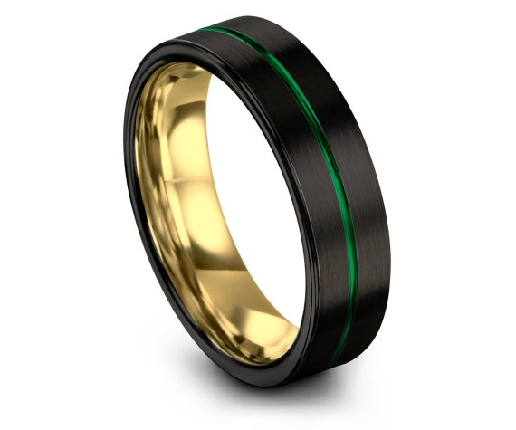 Black Green Wedding Band, Green Tungsten Band, Personalized Jewelry, Thin Green Line Ring, Unique Ring, Promise Ring For Him, Gifts for Him