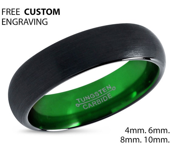 Tungsten Ring Mens Black Green Wedding Band Tungsten Ring Tungsten Carbide 6mm Tungsten Man Wedding Male Women Anniversary Matching Size