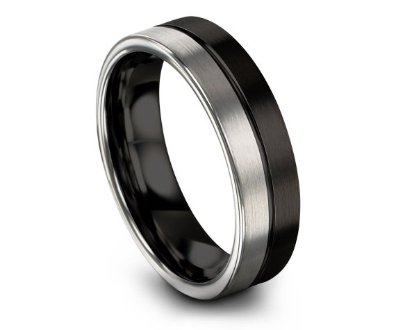 Engraved Ring Men | Silver Tungsten Carbide Ring | Flat Cut Wedding Band | His and Hers Wedding Ring Set | Initial Jewelry | Free Shipping