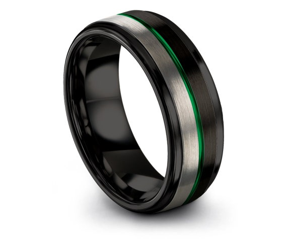 Rings for Men, 8mm Tungsten Wedding Band Silver, Black Tungsten Ring, Thin Center Line Green Engraving, Christmas Gifts, Free Shipping