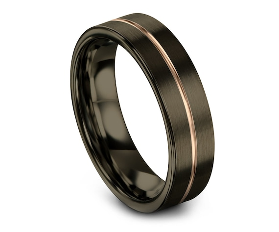 Men's Tungsten Wedding Band Rose Gold, Tungsten Wedding Ring, Tungsten Anniversary Ring, Flat Cut Comfort fit Band, Mom Gifts, Perfect Gift