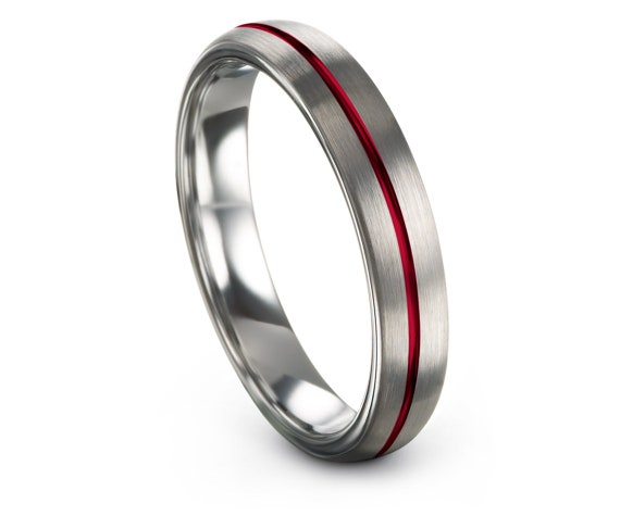 Silver Grey Tungsten Ring,Thin 4mm Rings,His and Hers Wedding Band Set,Center Engraved Red Line Tungsten Carbide Men Ring,Matching Ring