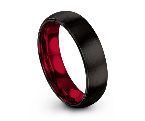 Mens Wedding Band Red, Black Tungsten Ring, Wedding Ring, Engagement Ring, Promise Ring, Personalized, Gifts for Him, Gifts for Her