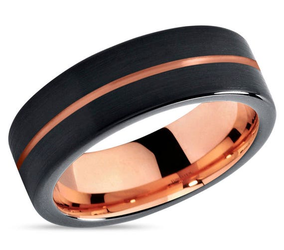 Black Tungsten Ring Rose Gold Wedding Band Ring Tungsten Carbide 9mm 18K Tungsten Man Wedding Band Male Women Anniversary Matching