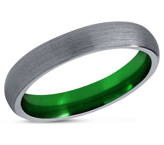 Green Tungsten Ring Mens Silver Grey Wedding Band Tungsten Ring Tungsten Carbide 4mm Tungsten Man Wedding Male Women Anniversary Matching