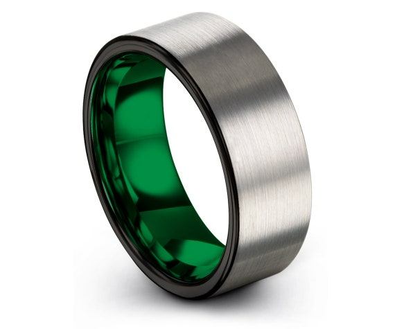 Brushed Wedding Bands, Silver Tungsten Ring, Tungsten Band For Men, Green Tungsten Ring, Personalized Gifts, Anniversary Matching, Gifts