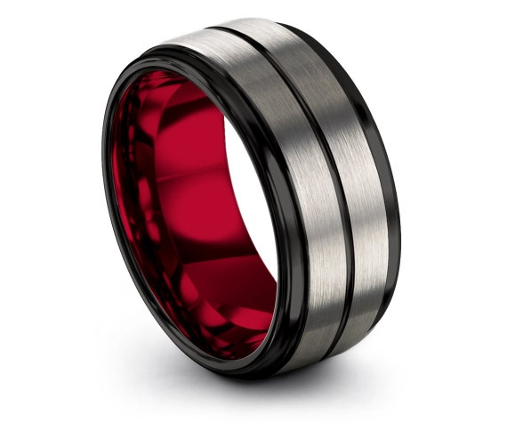 Personalized Tungsten Ring | Red Wedding Band | Black and Silver | Tungsten Anniversary Ring | Gift For Couple | Birthday Gift | Rings