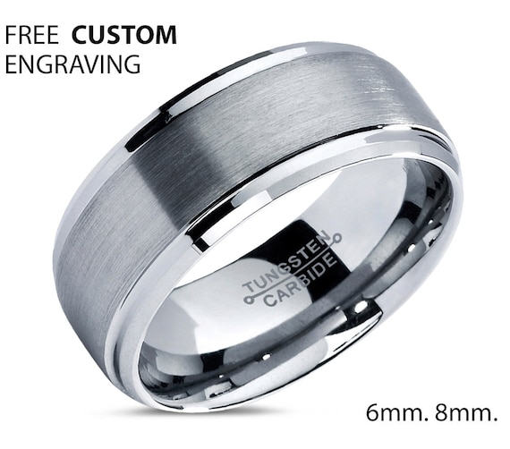 Mens Wedding Band, Tungsten Ring 8mm, Wedding Ring, Engagement Ring, Promise Ring, Gifts for Her, Gifts for Him, Personalized Ring