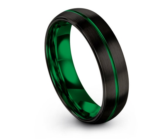 Domed Tungsten Band For Men,Black Brushed with Green Line Engraving Band,Tungsten Ring Women,Tungsten Ring 6mm,Mens Ring,Unique Gift,Bands
