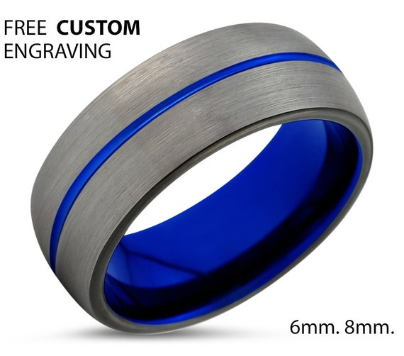 Blue Line Dome Wedding Ring Band Custom Free Fast Shipping and No Cost Engraving Gift Idea Anniversary Unisex His or Her for Jewelry Design