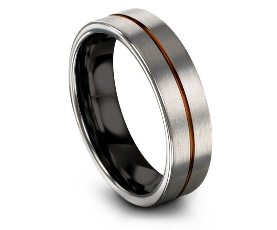 Silver Brushed Tungsten Wedding Band,Black Tungsten Ring Set,Copper Center Line Engraving,Personalized Ring,Anniversary Gifts For Boyfriend