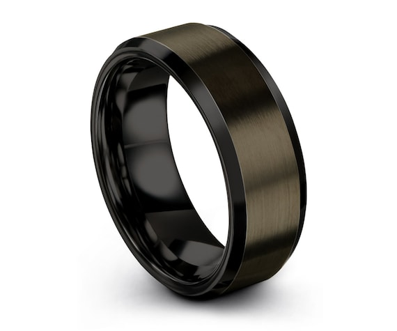Mens Wedding Band Gunmetal, Tungsten Ring Black 8mm, Engagement Ring, Promise Ring, Personalized, Rings for Men, Rings for Women