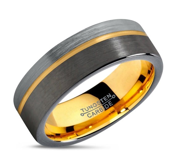 Mens Wedding Band Black, Tungsten Ring Brushed, Gunmetal, Engagement Ring, Rings for Men, Promise Ring, Wedding Ring, Black Ring, Gold Ring