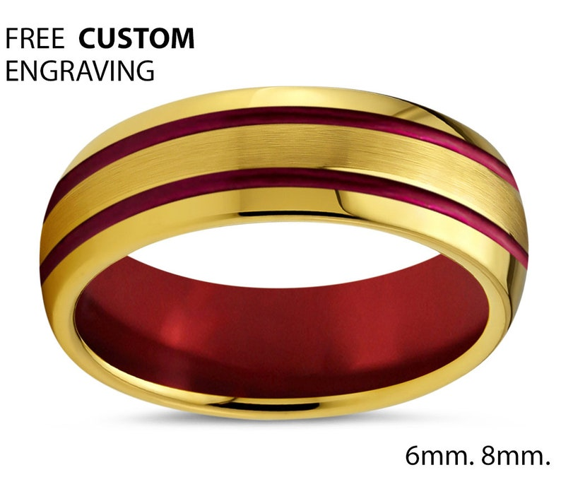18k Yellow Gold Promise Ring Mens Wedding Band Gold Unisex Red Tungsten Ring Gift for Mothers Day Fathers Brothers Sisters Him /& Her