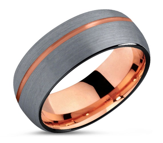 Mens Rose Gold Wedding Band, Brushed Silver Black Ring Tungsten Carbide 8mm 18K Man Women Anniversary Matching, Free Engraving & Shipping