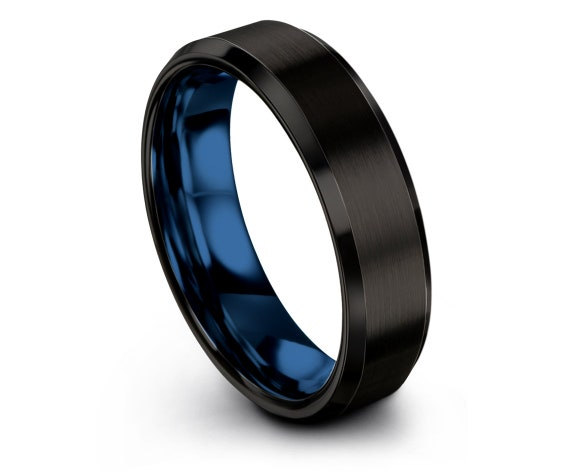 Mens Black Blue Ring | Tungsten Band For Men | Brushed Tungsten Engagement Ring | Dad's Gift | Promise Ring | Free Shipping