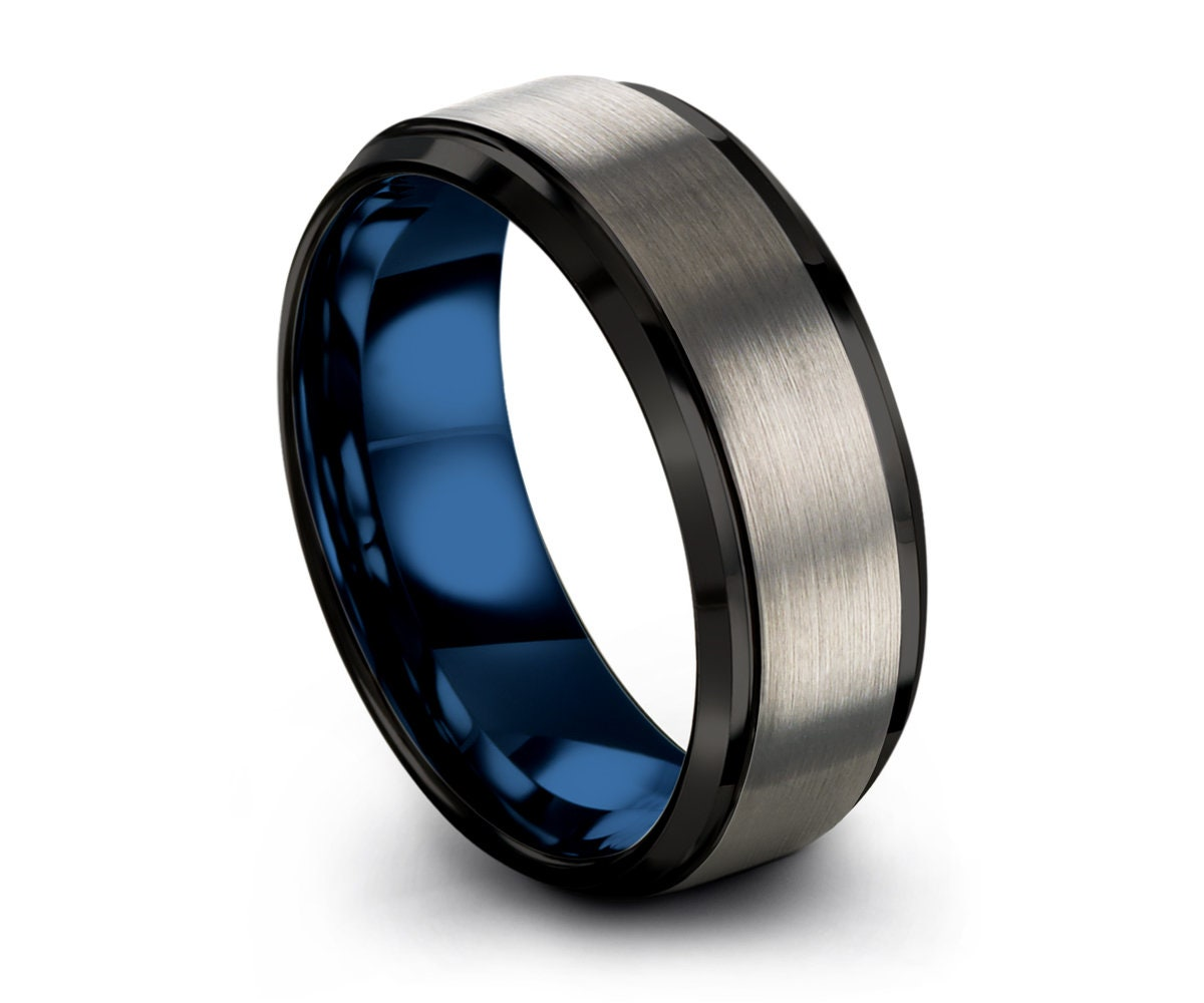 Engagement Ring Wedding Ring Mens Wedding Band Silver Simple Ring Rings for Women Tungsten Ring 8mm Promise Ring Rings for Men