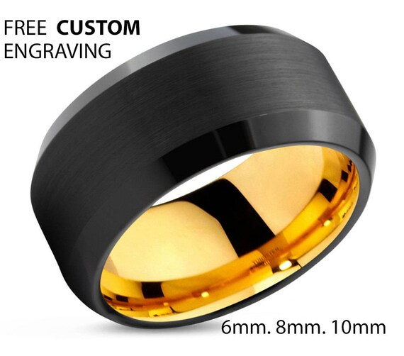 Black Tungsten Ring Yellow Gold Wedding Band Ring Tungsten Carbide 10mm 18K Tungsten Ring Man Wedding Band Male Women Anniversary Matching
