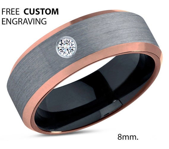Brushed Silver Black Tungsten Ring, 18k Rose Gold Black Band, Black Wedding Bands, White Diamond Mens Wedding Band, Tungsten Carbide,8mm