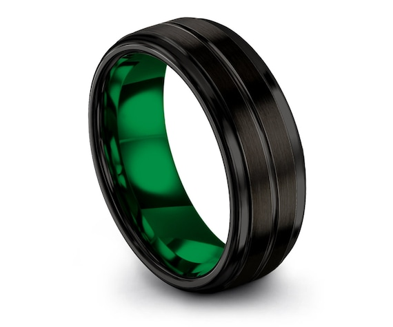 Black Tungsten Ring Mens 6mm,Tungsten Ring Set,Green Tungsten Wedding Band,Tungsten Carbide Ring,Gifts For Dad,Free Shipping,All Size-4-15