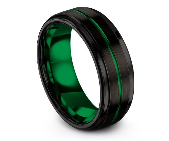 Engagement Rings Band Green | Tungsten Mens Wedding Band | Black Tungsten Ring Set | Comfort Fit Engraved Band | His and Hers Ring | Custom