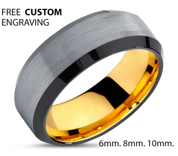 Brushed Silver Tungsten Wedding Band | Mens Wedding Ring 18K Yellow Gold | Beveled Hypoallergenic Promise Ring | Personalized Ring