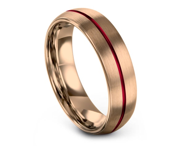 Domed Red Tungsten Band, Engagement Ring, Rose Gold Tungsten Wedding Band, Rings for Women, Center Line Engraving, Tungsten Carbide 6mm 8mm