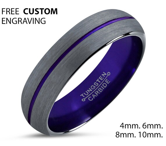 Purple Tungsten Wedding Band Men & Women | Unique Promise Ring | Great Gift Idea