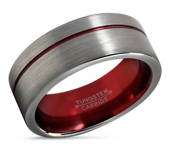 Mens Wedding Band Red, Tungsten Ring Silver, Wedding Ring 9mm, Engagement Ring, Promise Ring, Personalized Ring, Rings for Men, Mens Ring